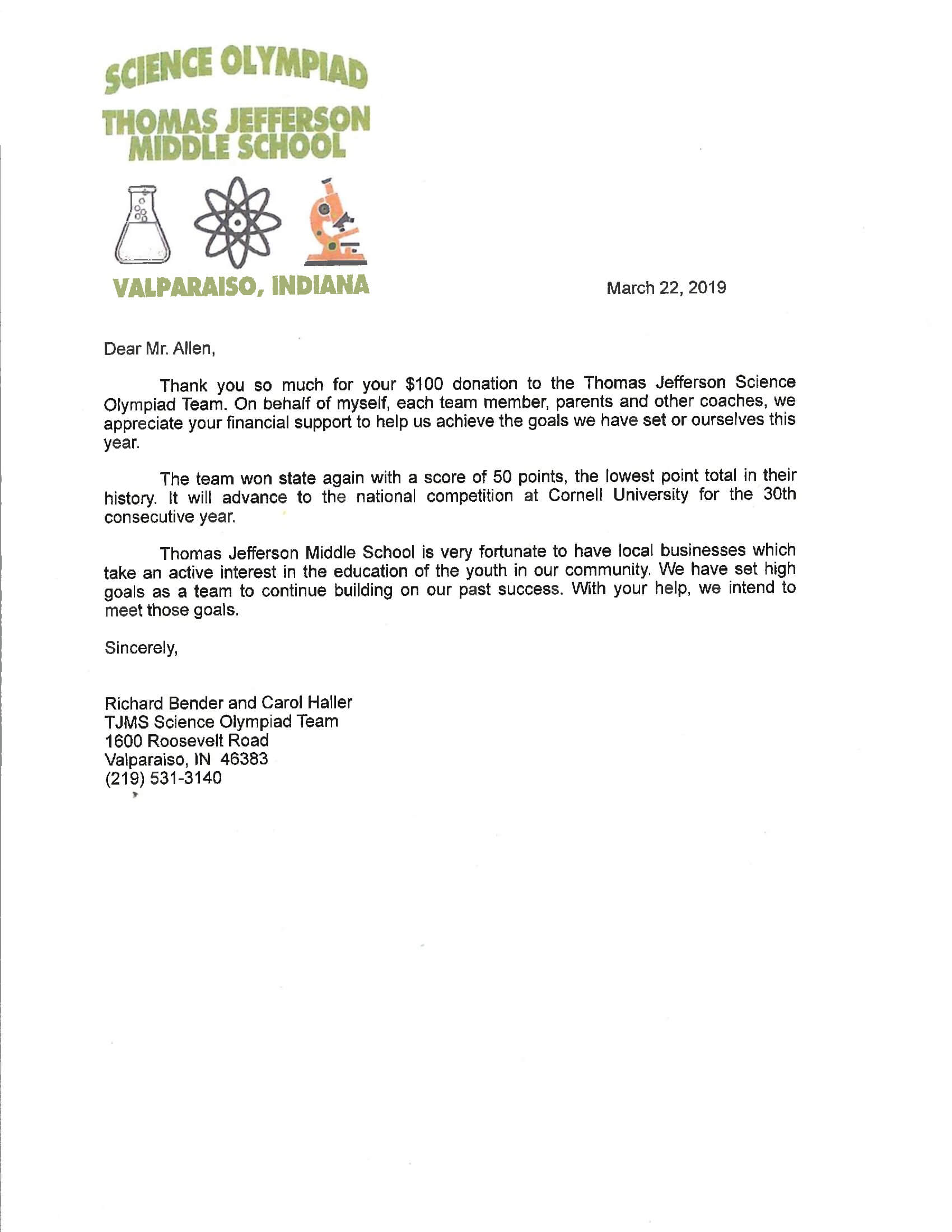Thank You Letter To Staff For Support from www.kenallenlaw.com